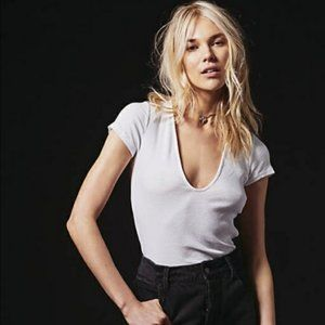 Free People White Ribbed Deep V Neck Tee